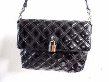 Marc Jacobs Black Patent Leather Quilted Chain Padlock Strap Shoulder Flap Bag