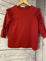 Womens / Ladies Zara Trafaluc Red 3/4 Sleeve Top -  Size Small