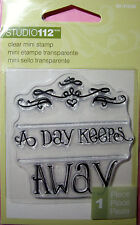 NEW 2 pc A ...(blank)... A DAY KEEPS...(blank).. AWAY CLEAR STAMP SET STUDIO 112