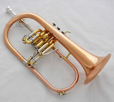 Professional Rose Brass Bb Flugelhorn 3 Monel Valve Cupronickel Tuning with Case
