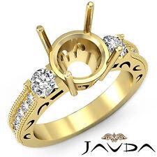 Diamond Engagement 3 Stone Round Semi Mount Milgrain Ring 14k Yellow Gold 0.65Ct
