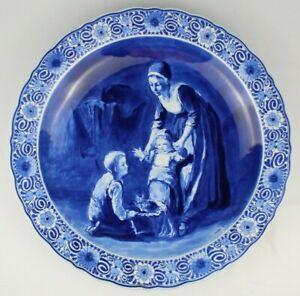 Large Vintage PORCELYNE FLES DELFT Blue & White Porcelain Charger Aft. Bisschop