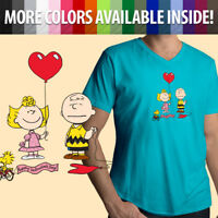 Peanuts Charlie Brown Valentine's Day Sally Cartoon Cute Mens Tee V-Neck T-Shirt