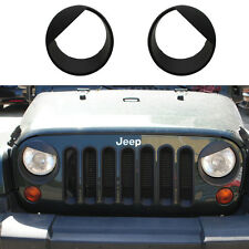 Pair ABS Angry Bird Headlight Trim Cover Ring Bezels For Jeep Wrangler JK 07-16