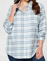 Ladies size 20 + BELLE CURVE long sleeve blue check shirt Cotton/tencel NEW