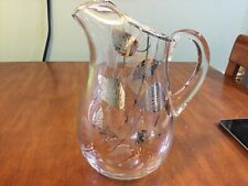Pitcher Sterling Silver Overlay Flanders Glass leaf leaves vine