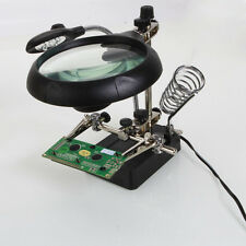 Helping Hand Soldering Stand With LED Light Magnifier Magnifying Glass 3 Lens