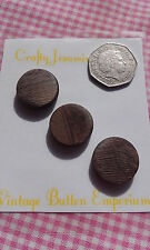 3 Wood-look Brown Vintage Art Deco Flat Shank Coat Buttons 20mm Sewing Crafts