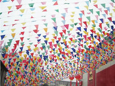 Multi Colored Rainbow Bunting Large Birthday Party Xmas Outdoor Flags Banner 10M