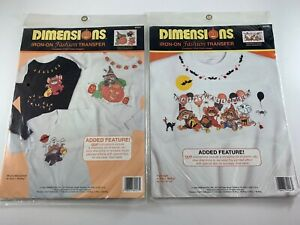 (4) Halloween Iron on Transfer 1992 Dimensions USA Mouse Pumpkin Ghost Scary NEW