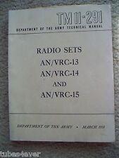 Tm 11-291 Original Army manual March 1951 An/Vrc-13 -14 -15 for Radio Rt-66/Grc