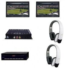 "Dual 7"" Headrest Screen Rear Seat Entertainment DVD Player AV in Headphones RSE"
