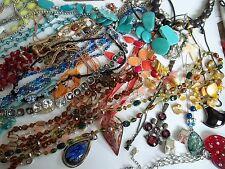 159 pc necklace lot,stones,pearls,coral,lapis,ceramic,rhinestones,glass beads,