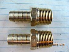 """Lot of (2) ½"""" ID Hose X ½"""" Male NPT Brass Hose Barb Parker 125HBL-8-8 [Z1S6]"""