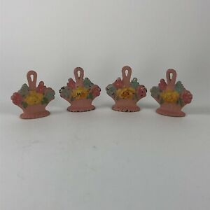 4 Hubley Pink Flower Basket Card Holders or Shade Pulls Cast Iron Vintage
