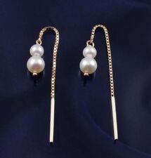 9ct Gold Fresh Water Pearl Box Chain Pull Through Earrings.