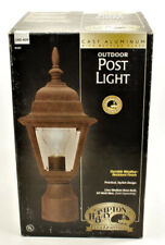 "Hampton Bay Outdoor Post Light Rust with Beveled Glass & 3"" Pier Base"