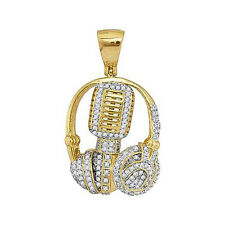 10 K Yellow Solid Gold, Diamond Mic Headphone DJ Music Pendant 1.00 Carat, Free