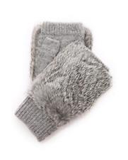 NWT Adrienne Landau Knit Fingerless Fur Gloves