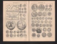 Lithografie 1898: Münzen. Münztechnik. Gold-Silber Geld Währung Numismatik