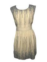 Darling Brand Fit & Flare Sleeveless Lined Dress Tan Green Vines Sz L, NWT