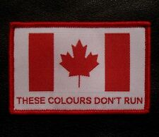 THESE COLOURS DON'T RUN CANADA FLAG ARMY COLOR VELCRO® BRAND FASTENER PATCH