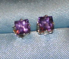 5.0MM  PRINCESS AMETHYST STUDS HANDCRAFTED IN STERLING SILVER 1.20 CTW