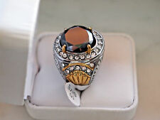 Antique Style 8+Ct,16.5mm Black Diamond Stainless steel and cooper ring for Men