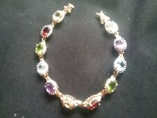 Multi gemstone tennis bracelet 14kt Gold Over Sterling Silver