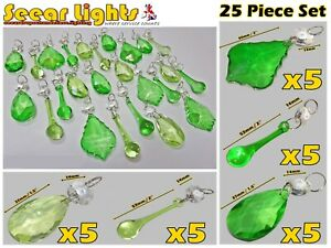 25 GREEN 2-TONE CRYSTALS DROPLETS GLASS PRISMS DROPS CHANDELIER BEAD LAMP PARTS