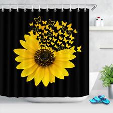 "Creative Sunflower Butterfly Black Waterproof Fabric Shower Curtain Set 72"""
