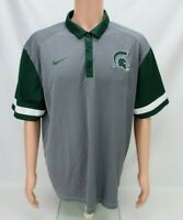 Nike Michigan State Spartans Dri Fit Mens Polo Shirt Size XL Short Sleeve Gray