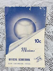 RARE! Vintage 1954 Scorebook Card San Antonio Missions vs Fort Worth Cats