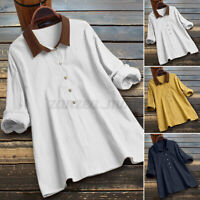 2021 UK Womens Button Up Blouse Solid Cotton Casual Loose Shirt Long Sleeve Tops