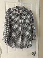 Foxcroft Womens Shirt easy care Shaped Button Down Black white Sz M 3/4 Sleeve !