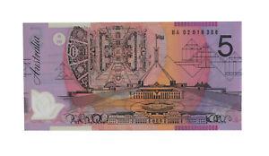 2002 Macfarlane/Henry $5 Five Dollar BA First Prefix Note - UNC, R.220aF D8-115