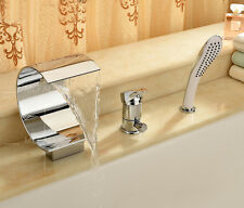 Bathroom Tub And Shower Faucet Set With Handheld Chrome Finished Waterfall Spout
