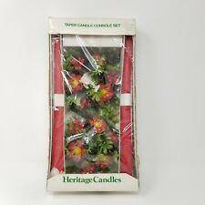 Vtg Heritage Candles Taper Candle Console Set Christmas Floral Red Mid Century