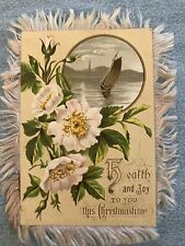Victorian Christmas Card Sailboat Pastels Holiday Wish Silk Fringe Double-Sided