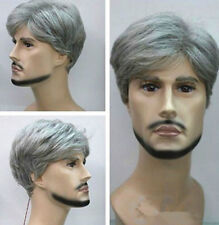 New Sexy Fashion Gray Mixed Short Curly Elder Men Men's Hair Wigs + Free Wig Cap
