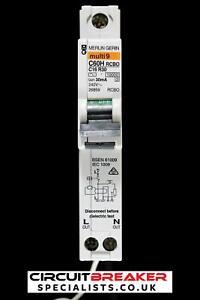 MERLIN GERIN 16 AMP CURVE C 10 kA 30 mA RCBO TYPE AC C60HC16R30 26859