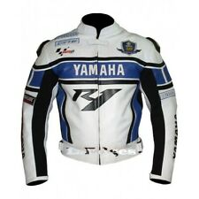 YAMAHA NEW R1 BLUE WHITE MEN COWHIDE RACING MOTORCYCLE LEATHER JACKET