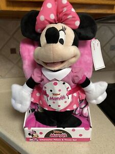 Disney Junior Minnie Mouse Character Pillow & Throw Set~New!