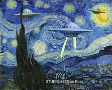 UFO STARRY Night Parody Vincent van Gogh Space Ship Flying Saucer Alien Science