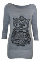 New Ladies Womens Owl Print Jumper Sweater Knitted Animal Pullover Top Size 8-12