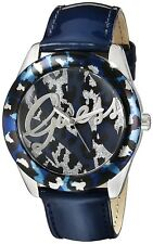 GUESS Women's U0455L1 Iconic Blue Patent Watch with Animal Print Dial