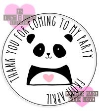 Personalised panda heart  24 party bag stickers sweet cone labels thank you