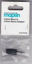 Adaptor plug - 3.5mm Mono plug, 3.5mm Stereo socket