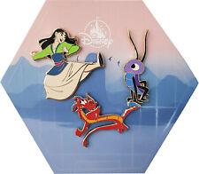 Disney Store Mulan Mushu Cri-Kee 3 Pin Trading Badge Collection Set Princess NEW