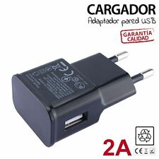 CARGADOR PARED 2A MOVIL USB compatible ANDROID IPHONE LG HTC BQ IOS 2A Negro